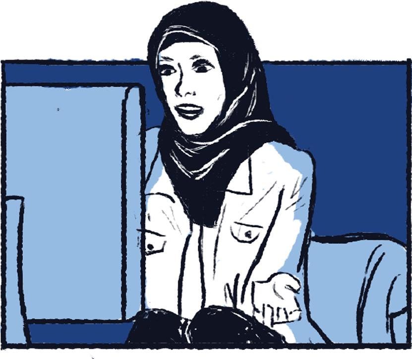 Illustration of a woman wearing a hijab using a computer