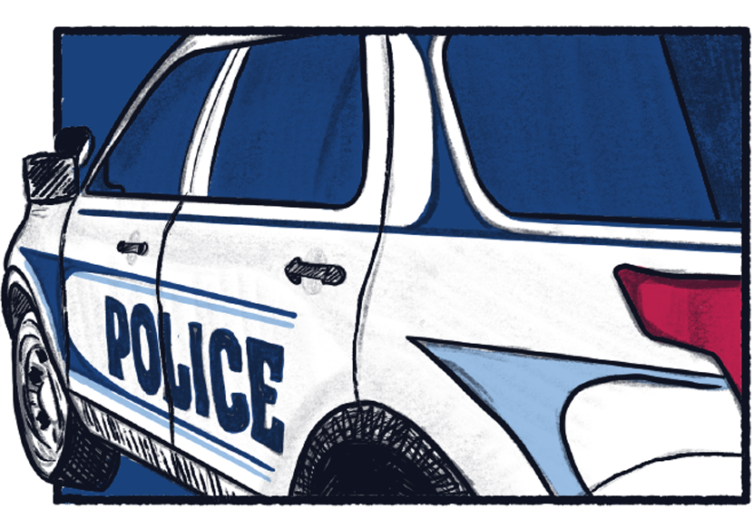 Illustration of a campus police car