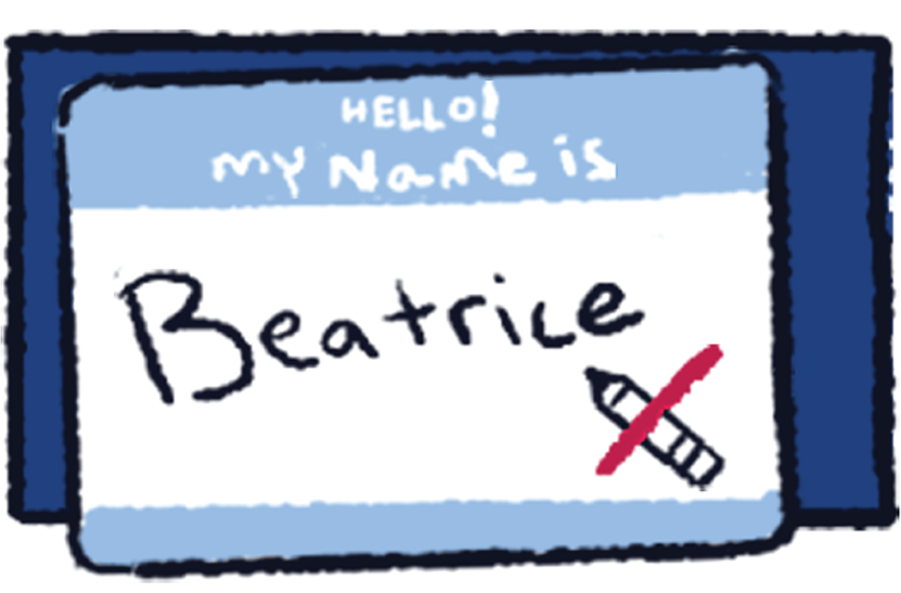 Illustration of a nametag with the name Beatrice