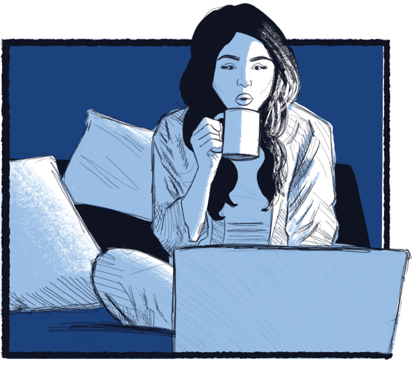 Illustration of a woman using a laptop while sitting on her bed, sipping from a mug