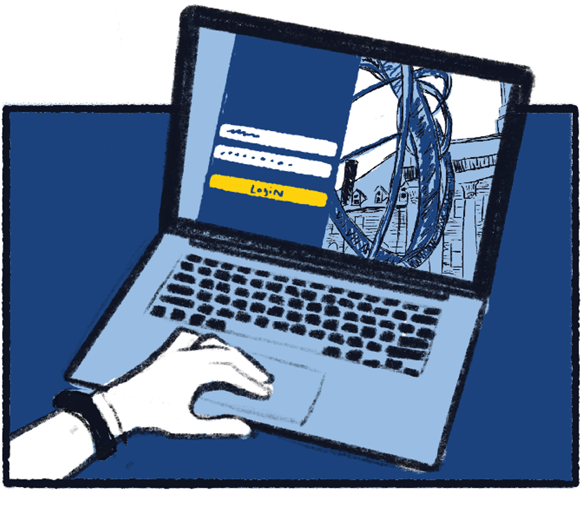 Illustration of a user logging into the Penn State Webaccess Login