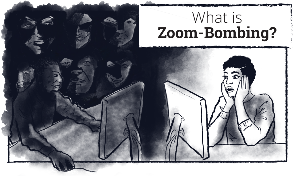 "An illustration of a woman reacting in horror to her computer screen with the words ""What is Zoom-Bombing?"""